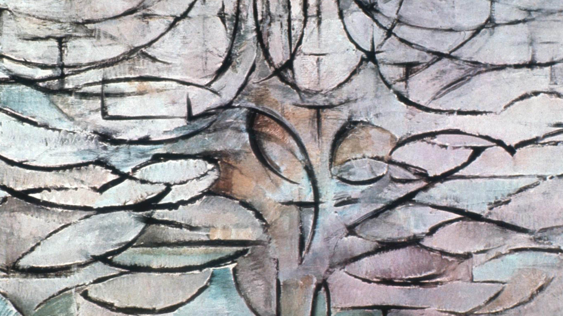 Illustratie: Mondriaan  |  Bloeiende Appelboom